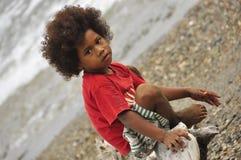 Criança aborígene de Kanak em Nova Caledônia fotografia de stock