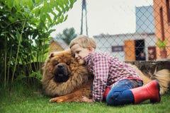 A criança abraça lovingly seu cão de estimação Chow Chow fotografia de stock