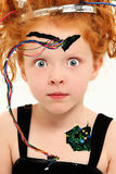 Criança adorável do Cyborg com os fios expor fotografia de stock