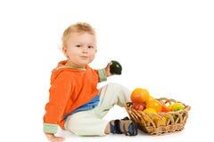Criança adorável, no fundo branco Imagem de Stock