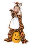 Criança adorável no traje do tigre fotos de stock royalty free
