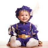 Criança alegre em um terno do carnaval imagem de stock