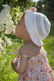 A criança aprecia o perfume das flores Fotos de Stock Royalty Free