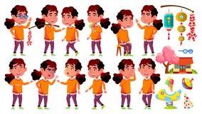 A criança asiática do jardim de infância da menina levanta vetor ajustado Criança pequena Brinquedo engraçado lifestyle Para anun ilustração stock