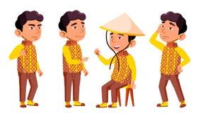 A criança asiática do jardim de infância do menino levanta vetor ajustado Festival, dragão Jogo do caráter childish Ocasional vis ilustração stock