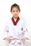 Criança asiática pequena na ação de combate Imagem de Stock Royalty Free