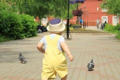 A criança, bebê, menino anda no parque foto de stock