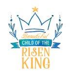 Criança bonita do rei aumentado Watercolor Emblem Imagens de Stock Royalty Free