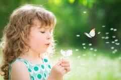 Criança bonita na mola Imagem de Stock Royalty Free