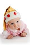 Criança bonita no chapéu do Natal Imagem de Stock Royalty Free