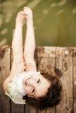 Vintage bonito criança vestida fotografia de stock royalty free