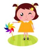 Criança bonito com moinho de vento colorido ilustração royalty free