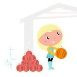 Criança bonito da acção de graças com cabeças da abóbora. ilustração stock
