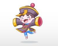 Criança bonito do estilo na ilustração chinesa do traje do zombi ilustração do vetor