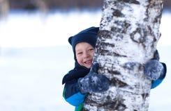 Criança bonito que esconde atrás de uma árvore de vidoeiro Fotografia de Stock