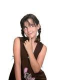 Criança bonito que olha acima ao pensar Foto de Stock Royalty Free