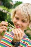 Criança bonito que olha uma lagarta fotografia de stock royalty free