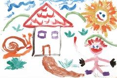 A criança caçoa o desenho da aguarela da casa Imagens de Stock