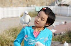 Criança chinesa com pombo fotografia de stock royalty free
