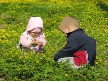 Criança com bebê Imagens de Stock