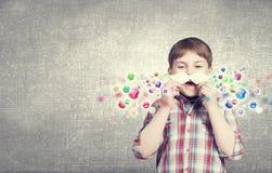 Criança com bigode Fotos de Stock Royalty Free