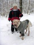 Criança com cão. Fotos de Stock Royalty Free