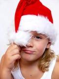 Criança com chapéu de Santa Fotografia de Stock Royalty Free