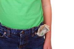 Criança com dinheiro no bolso Fotos de Stock Royalty Free