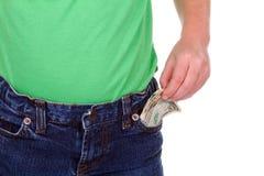 Criança com dinheiro no bolso Fotografia de Stock
