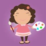 Criança com a escova da pálete e de pintura da cor Fotos de Stock