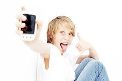 Criança com estéreo pessoal Fotos de Stock Royalty Free