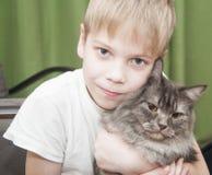 Criança com gatinho Foto de Stock Royalty Free