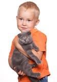 Criança com gato Fotos de Stock