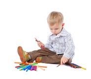 Criança com lápis foto de stock royalty free