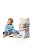 Criança com livros Fotografia de Stock