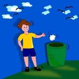 Criança com lixo Foto de Stock
