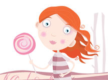 Criança com lollipop ilustração stock