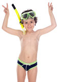 Criança com máscara do mergulho Foto de Stock Royalty Free