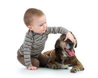 Menino do miúdo da criança com cão Fotos de Stock