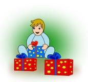 Criança com pacotes Foto de Stock Royalty Free