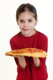 Criança com pizza Fotografia de Stock Royalty Free