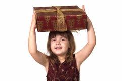 Criança com presente de Natal imagem de stock