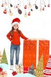 Criança com presente de Natal grande imagens de stock