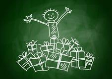 Criança com presentes Foto de Stock