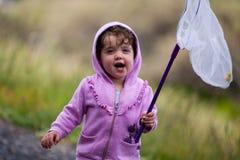 Criança com rede do erro Fotografia de Stock Royalty Free
