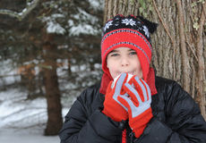 Criança com snowball Foto de Stock