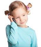 Criança com telefone Fotos de Stock
