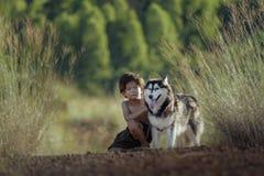 Criança com um cão Foto de Stock