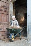 Criança com um carrinho de mão Fotos de Stock Royalty Free