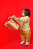 Criança com um presente do Natal Fotografia de Stock Royalty Free